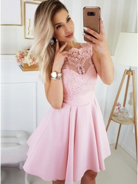 A-Line Scalloped-Edge Above-Knee Pink Homecoming Dress with Appliques