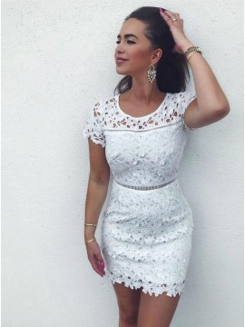 Sheath Crew Short White Lace Homecoming Party Dress