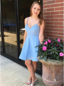 A-Line Spaghetti Straps Above-Knee Light Blue Homecoming Dress with Beading