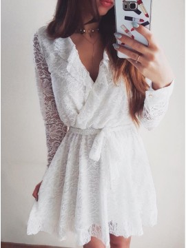 A-Line V-Neck Long Sleeves Short White Lace Homecoming Dress with Ruffles