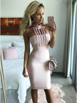 Sheath High Neck Knee-Length Pink Homecoming Party Dress with Beading