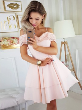 A-Line Spaghetti Straps Above-Knee Pink Homecoming Dress with Appliques