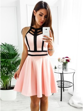 A-Line Crew Above-Knee Pink Homecoming Party Dress with Keyhole
