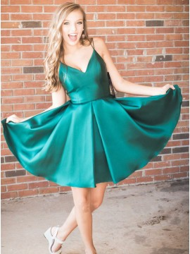 A-Line Spaghetti Straps Simple Short Dark Green Homecoming Dress
