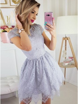 A-Line Jewel Short Sleeves Above-Knee Lavender Lace Homecoming Party Dress