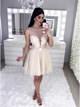 A-Line Round Neck Above-Knee Champagne Homecoming Party Dress with Appliques