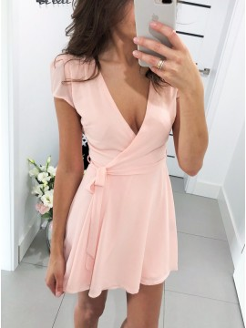 A-Line V-Neck Short Pink Chiffon Homecoming Party Dress with Sleeves
