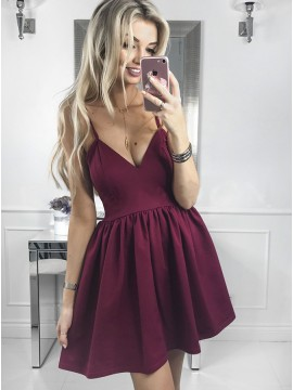 A-Line Spaghetti Straps Short Burgundy Homecoming Party Dress