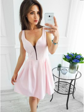 A-Line V-Neck Above-Knee Pink Satin Homecoming Party Dress