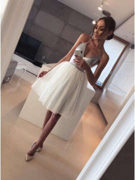 A-Line Spaghetti Straps Above-Knee White Homecoming Party Dress with Sequins