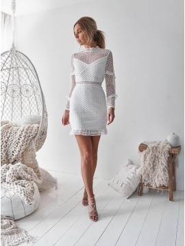 Sheath Jewel Long Sleeves Short White Lace Homecoming Party Dress