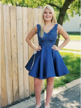 A-Line V-Neck Backless Above-Knee Royal Blue Homecoming Dress with Appliques