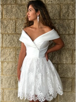 A-Line Off-the-Shoulder Above-Knee White Homecoming Dress with Lace