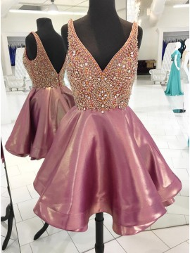 A-Line V-Neck Backless Short Metallic Homecoming Dress with Beading