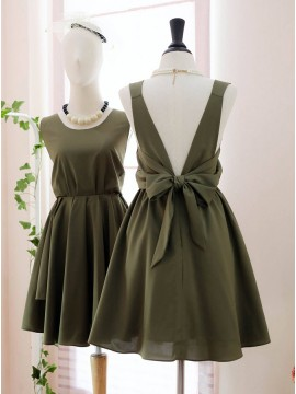 Mismatched Open Back Green Bridesmaid Dress Short Wedding Party Dress