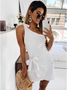 Short White Homecoming Dress One Shoulder Party Dress