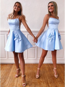 A-Line Short Satin Light Blue Homecoming Dress with Bowknot