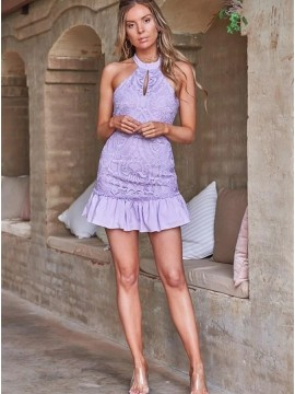 Halter Lilac Lace Short Dress