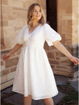 Simple White Lace Short Dress with Sleeves