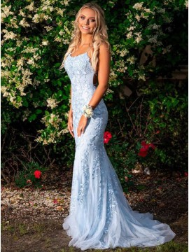 Mermaid Spaghetti Straps Long Light Blue Prom Dress with Appliques