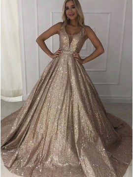 A-Line Champagne Prom Dress Long Glitter Evening Dress