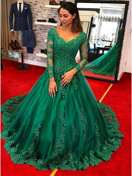 Ball Gown Scalloped-Edge Long Sleeves Hunter Quinceanera Dress with Appliques