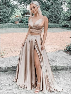 Champagne Split Long Prom Dress