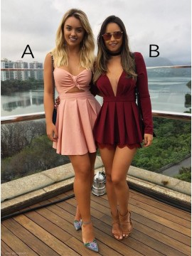A-Line Burgundy Homecoming Dress with Sleeves Pink Party Dress