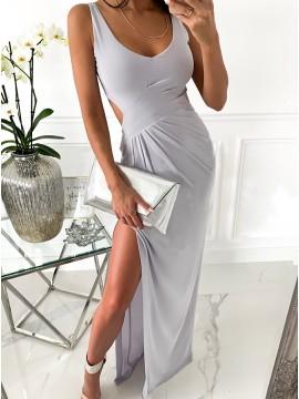 Sheath Long Grey Prom Dress with Split Open Back Party Dress