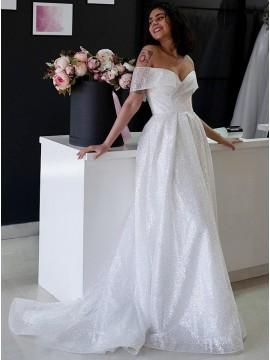 A-Line Sleeveless Sweep Train Wedding Dress with Sequins