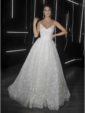 A-Line V-Neck Sleeveless Zipper-up Sequins Wedding Dress with Sweep Train