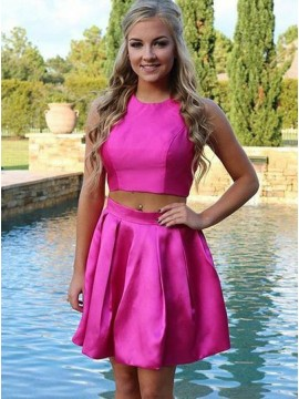 Two Piece Jewel Open Back Short Fuchsia Homecoming Dress with Ruched