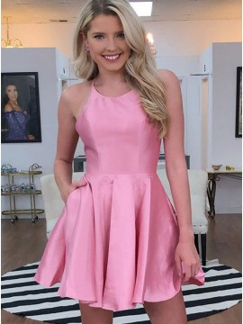 Short Satin Open Back Pink Homecoming Dress with Pocket
