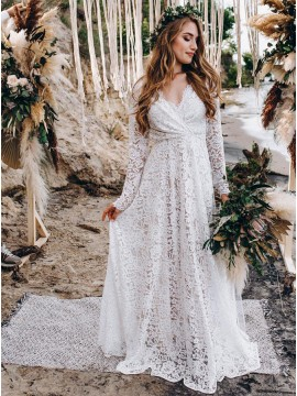 A-Line White Lace Wedding Dress with Long Sleeves