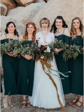 Spaghetti Straps Wedding Party Dress Dark Green Bridesmaid Dress