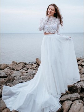 Two Piece Lace Chiffon Beach Wedding Dress with Long Sleeves