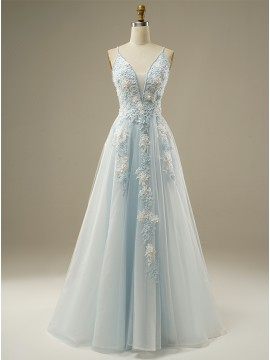 A-Line Long Tulle Light Blue Prom Dress