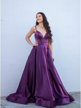 Purple A-Line Long Prom Dress