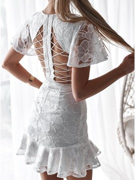 Short White Lace Graduation Dress with Sleeve