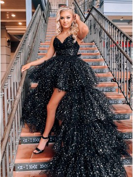 Black High Low Princess Prom Dress