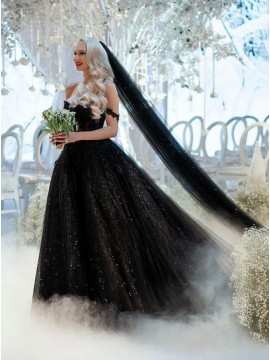 Black Wedding Dress with Veil