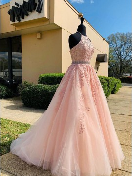 Appliques Long Pink Prom Dress
