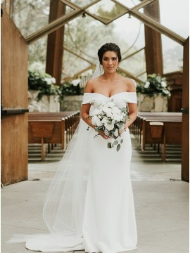 Simple Satin Off the Shoulder Wedding Dress