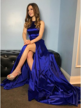 54fcb917f0d A-Line Crew Sweep Train Royal Blue Prom Dress with ...