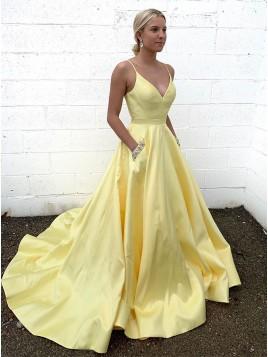 24a7010e1bc A-Line Satin Spaghetti Straps Long Yellow Prom Dress ...