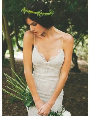 Mermaid Spaghetti Straps Backless Wedding Dress with Sweep Train