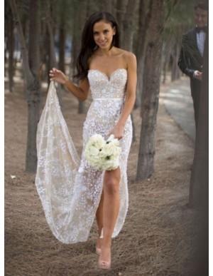 Sheath Sweetheart Leg slit Lace Sexy Wedding Dress with Sashes