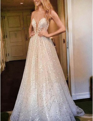 A-Line Sweetheart Sweep Train Sequins White Lace Prom Dress with Illusion Back