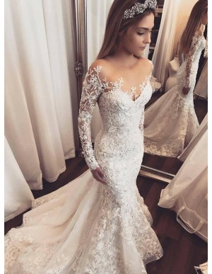 Mermaid Illusion Round Neck Long Sleeves Wedding Dress with Appliques