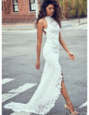 Mermaid Sweep Train Open Back Slit Leg Lace Wedding Dress